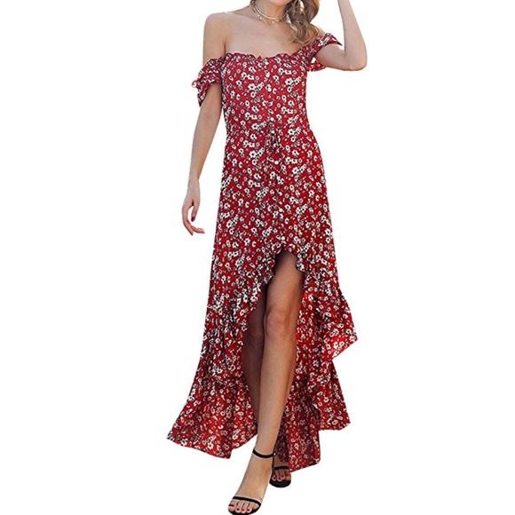 Dresses & Skirts - Beautiful women off shoulder floral maxi dress